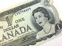 1973 Canada One 1 Dollar LV Prefix Uncirculated Lawson Bouey Banknote Q979