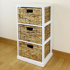 white 3 drawer basket bedside cabinethome storage