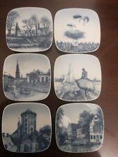 "Set of 6 Royal Copenhagen Square Collector Plates Denmark, 3.25"" diameter"
