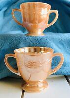 Vtg Fire King Sugar Bowl X 2 USA Peach Orange Lustre Glass Laurel Double Handle