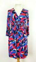 Boden Abstract Print Stretch Jersey Crossover Fit and Flare Dress UK 8 Beaded