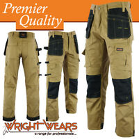 Men Work Cargo Trouser Khaki & Black Pro Heavy Duty Multi Pockets W:36 L:31