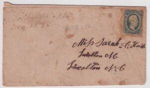 US STAMP CONFEDERATE #CSA12 – 1863-64 10c Confederate States  Davis STAMP COVER