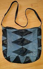 True Vintage Retro Ledertasche blau schwarz