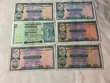 Hong Kong 10 Dollars Lot Of 6 Circulated 1964-80s Very Good Collectables