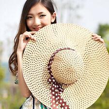 Beach Hat Floppy Straw Hat New Wide Brim Cap Women Derby Summer Sun Fold Lady