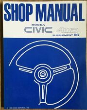 Honda Civic 4wd car shop manual suplement 86