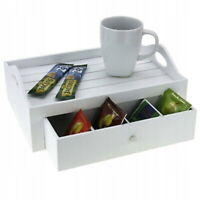 White Wooden Rectangular Serving Snack Tray with Storag TEA COFFEE SNACK SERVING