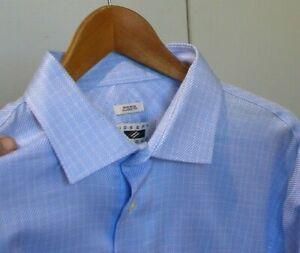 NEW Joseph Abboud Blue Non Iron Egyptian Cotton Signature Dress Shirt 17.5 36 37