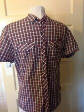 RIVER ISLAND CHECKED SHORT SLEEVE BUTTON  SHIRT SIZE S - 100% COTTON