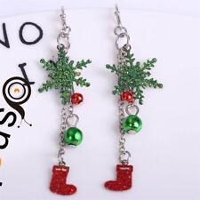Women Fashion Crystal Snowflake Earrings Hoop Christmas Party Earrings Jewelry