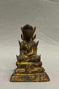 ANTIQUE 17th/18th C THAI GILT BRONZE SEATED DEITY BUDDHA NR