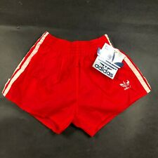 Vintage Adidas Trefoil Boys Youth L 28-30 Red Running Shorts Nylon White NWT