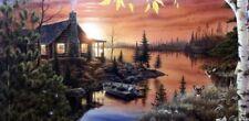 Mark Daehlin Deer/Cabin print Autumn Evening  24 X 8.5