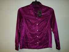 Investments Petites New Womens Dark Fuschia Button Up Blouse 10P Top Shirt
