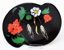 Longwy France Keramik Teller Coquelicot L. Valenti handbemalt um 1960 22,5x18cm