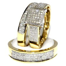 Round Diamond Wedding Trio Set His & Her Engagement Bridal Ring Yellow Gold Over