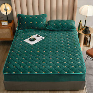 Embroidery Coral Fleece Mattress Protector Fitted Sheet Style Cover for