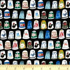 Thimbles Fabric Fat Quarter Cotton Craft Quilting Thimbles & Threads