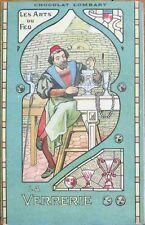 Art Nouveau 1905 Chocolate Ad Postcard: Glass Maker/Verrerie - Chocolat Lombart
