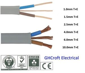 Twin and Earth | T+E | Electrical Cable 6242Y | All sizes & lengths | BASEC/UKAS