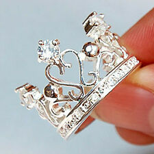 Promotion 925Sterling Silver Jewelry Noble Zircon Kingly Crown Ring Size 8 R034