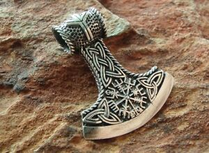 Wikinger Beil Aegishjalmur Thors Hammer 925 Silber Anhänger Beil #7