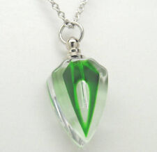 Green Art Deco Glass Cremation Urn Necklace