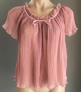 Vintage SHIRT WORKS by BARRY JOSEPH Dusty Pink Piano Pleat Ruffle Blouse Size 16