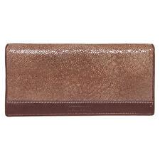 Genuine Stingray Skin Polished Leather Men Bifold Clutch Long Wallet 2PTVD Brown