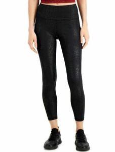 IDEOLOGY RapiDry side pockets croc-print women's ankle leggings -Black-MEDIUM