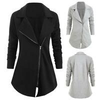 Womens Long Sleeve Zip Up Asymmetrical Coat Wrap Jacket Outwear Oversized Coat
