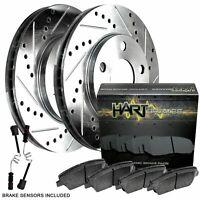 Fits Mercedes-Benz C230, C320, CLK350 Rear Drill Slot Brake Rotors+Ceramic Pads