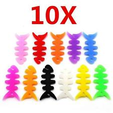 10pcs/Lot Rubber Fish Bone Earphone Headphone Cable Cord Wire Winder Wrap Holder