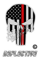 """5- TACTICAL Thin Red Line Punisher Decal SKULL 1"""" Reflective TRL Decal Stickers"""