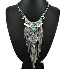 Chic Tassels Chain Jewelry Women Choker Statement Bib Turquoise Pendant Necklace