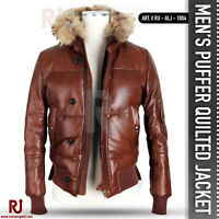 PUFFER Quilted Lambskin Leather Jacket Men's 100% REAL Leather│Hooded│PUFFER