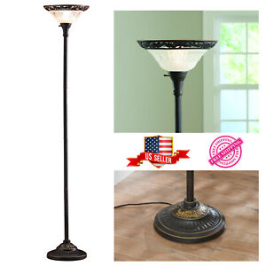"Floor Lamp 70"" Bronze Victorian Style Frosted Torchiere Satin Copper Finish New"