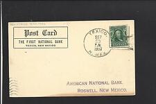 TEXICO, NEW MEXICO 1907 TERRITORIAL CARD, ADVT FIRST NATL BANK, CURREY CO 1902/