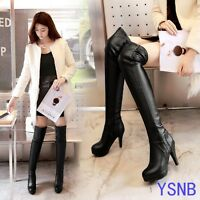 Women's PU Leather Thigh Sexy Long Boots Platform High Heels Over the Knee Boots