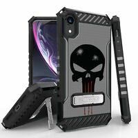 "For iPhone XR 6.1"" Hybrid Armor Tough Case Metal Kickstand Punisher Skull"