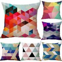 Cotton Linen Triangles Colorful Pillow Case Sofa Throw Cushion Cover Home Decor