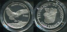 CONGO KONGO 2000 - 1000 Francs in Silber, PP - Wildlife WEISS STORCH
