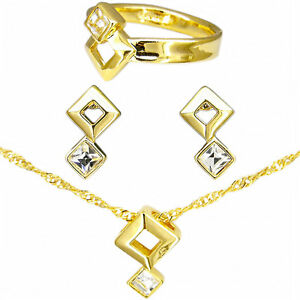 Square Valentine's Day Jewelry Sets Pendant Earrings Ring 18k CZ Clear Size 6.5