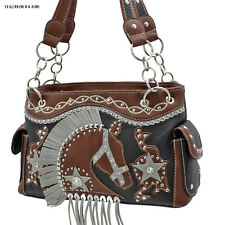 HD 893 BLACK/BROWN WESTERN RHINESTONE  HORSE HEAD PURSE CONCEALED CARRY HANDBAG