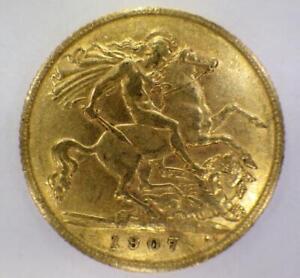 1907 Half 1/2 Gold Sovereign British Coin King Edward VII London Mint RARE AU/BU