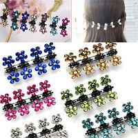 12PCS Baby Girl lady Crystal Flower Mini Hair Claw Clamp Hair Clip Hair Pin ES