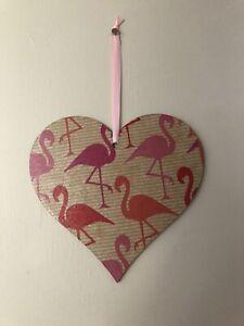 Handmade Wooden Pink Flamingo 🦩 Large Hanging Heart Decoration Plaque Gift
