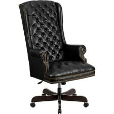 High Back Traditional Tufted Black Leather Executive Swivel Office Chair Flaci36