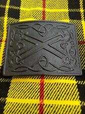 Scottish Kilt Belt Buckle Lion Rampart Crest Design Matt Black Finish